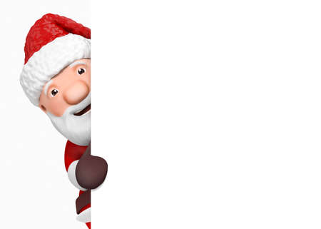 father christmas: 3d cartoon santa claus with blank paper - isolated Stock Photo