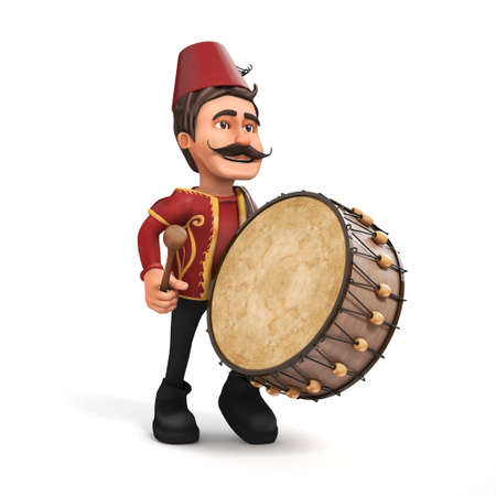 turkish: 3D isolated Traditional Ramadan Drummer playing drum-