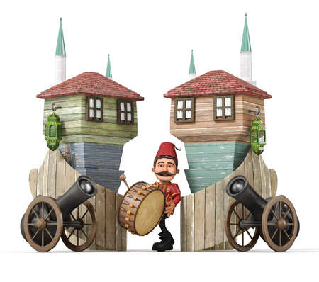 3d concept-ramadan ramadan drummer, drum, ramadan gun, muslim neighborhood