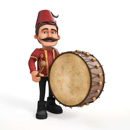 drummer: 3D isolated Traditional Ramadan Drummer playing drum-