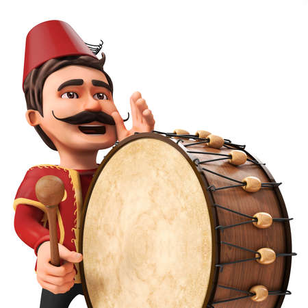 announce: 3D Traditional Ramadan Drummer announcing to people Stock Photo
