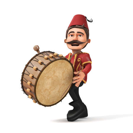 3D isolated Traditional Ramadan Drummer playing drum-