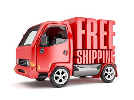 3D vermelho Van com frete grátis texto isolado Foto de archivo - 94441696