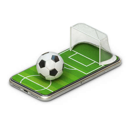 3d illustration of a soccer field on a smartphone screen