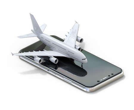 3D illustration of commercial airplane on smartphone.isometric isolated Stock fotó