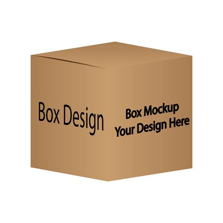 3D Brown carton box template mockup vector semi realistic object on isolated white background.