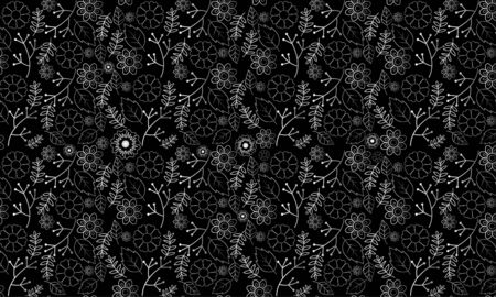 Silver flowers and leaf designs on black background. Vintage seamless pattern. Oriental style ornaments. Vector illustration. 向量圖像