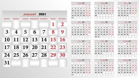 Calendar 2021, English pocket calendar. Basic grid Calendar template for 2021 year. Planner diary in a minimalist style. Corporate and business calendar.