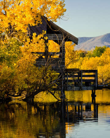 Rustic Pier & Fall Foliage Reflected in the Lake