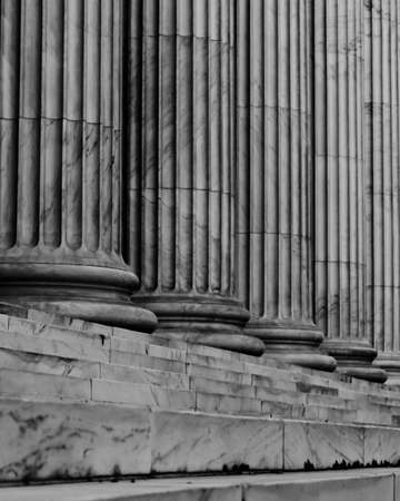 Black & White Marble Columns & Stairs