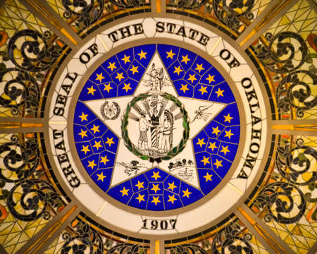 Stained Glass of the Oklahoma State Seal Inside the Oklahoma State Capital