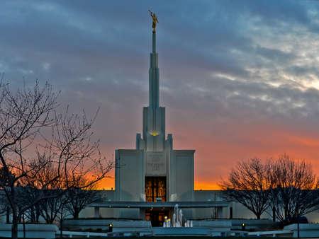 lds: LDS Denver Temple at Sunset Horizontal
