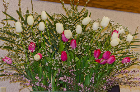 White & Pink Tulips with Palm Fronds and Pussy Willows