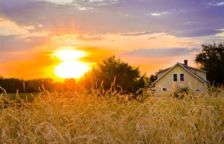Sunset on the Homestead Stock Photo