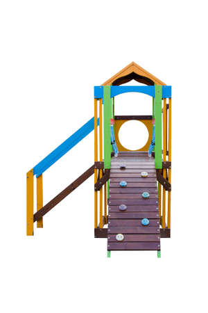 Wooden climbing frame for children isolated with clipping path on white background