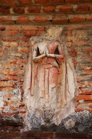 archaeologically: bhudda stucco decoration around the pagoda Stock Photo