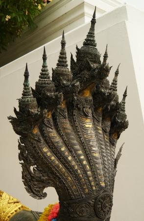 seven headed serpent sculpture,Wat Phra Buddhabat,saraburi photo