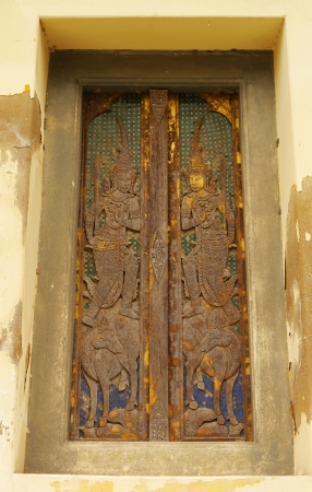 Wooden windows carved glass,Wat Phra Buddhabat ,saraburi photo