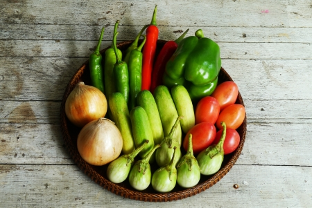vegetables on  a wooden  photo
