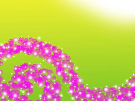 Elegant abstract circular pink bokeh on green background photo