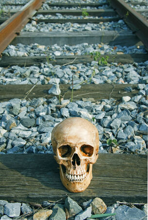 life after death: still life with skull human on railway tracks in retro filter effect life after death railroad,wood tracks  Stock Photo