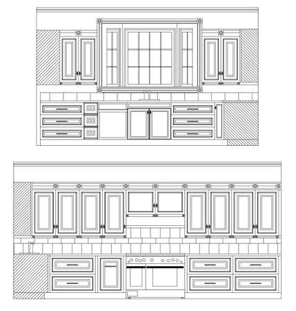 Home Kitchen Elevation Stock Vector - 3385357