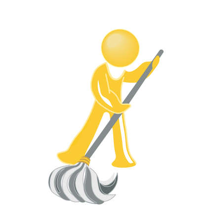 janitorial: icon janitor mopping Stock Photo