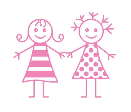 girl in red dress: Two little girls Illustration