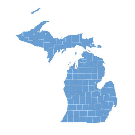 michigan: map Michigan Illustration