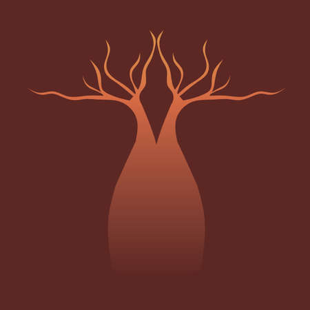 Australian boab tree silhouette trunk and leaves Vector