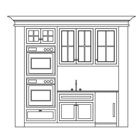 kitchen illustration: kitchen elevation line drawing, cabinets, drawers, appliances