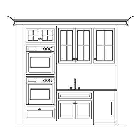 armario cocina: l�nea de elevaci�n de la cocina de dibujo, armarios, cajones, dispositivos