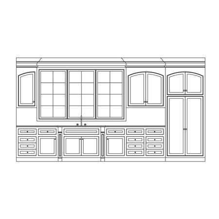 Küche-Elevation-Line drawing, Schränke, Schubladen, appliances  Standard-Bild - 6959792