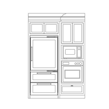 modern interior: kitchen elevation line drawing, cabinets, drawers, appliances