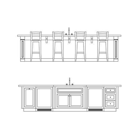 domestic kitchen: kitchen elevation line drawing, cabinets, drawers, appliances