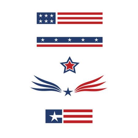 american flags: conjunto estadounidense 2 Vectores