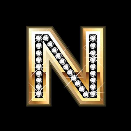 diamond letter: N bling letter