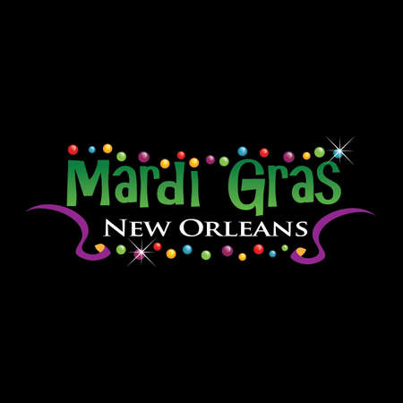 colorful beads: Mardi Grass logo Illustration