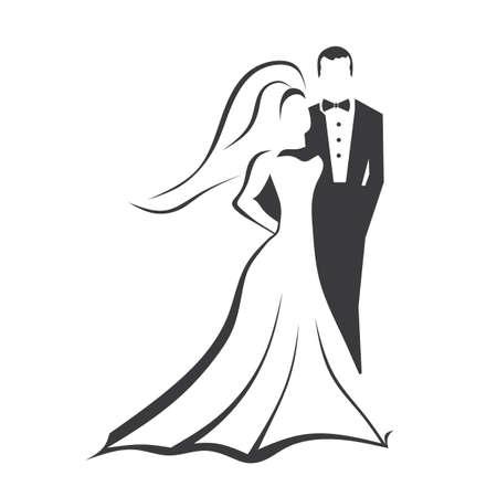 braut und bräutigam: Braut und Br�utigam Illustration