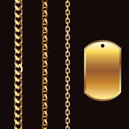 Chaînes en or et la balise Banque d'images - 9757929