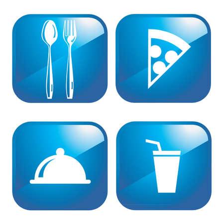 Restaurant web 2.0 icons Vector