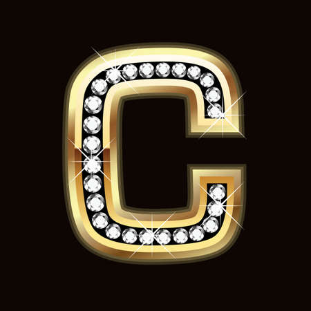 diamond letters: C bling Illustration