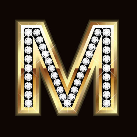 diamond letters: M  word bling
