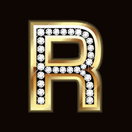 diamond letters: R  word bling