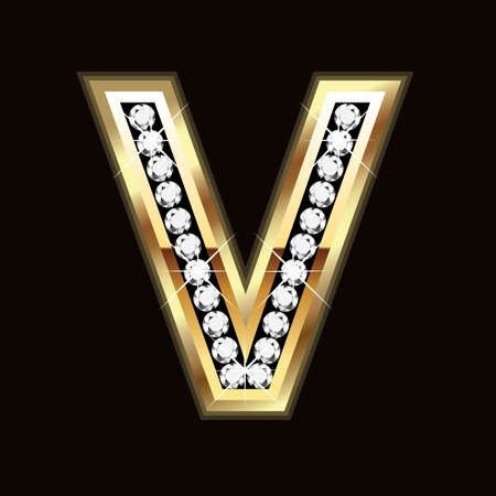 v letter bling bling Vector