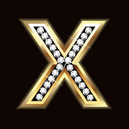 X letter bling bling Vector
