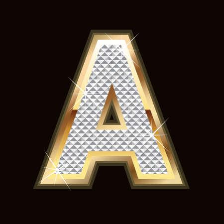 gold letter: A letter bling