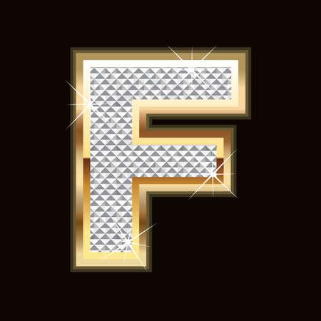 F letter bling Vector