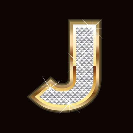 diamond letters: J letter bling Illustration