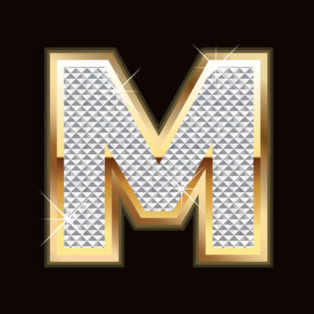 diamond stones: M letter bling